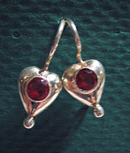 Heart-Shaped Earrings with Garnets