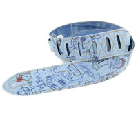 Levy's Leathers Guitar Strap w/ doodle design, Denim - M12DD-001