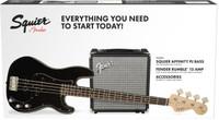 Squier Affinity P Bass Guitar with Rumble 15 Amp Pack - Black