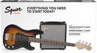 Squier Affinity P Bass Guitar with Rumble 15 Amp Pack - Sunburst