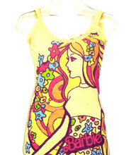 Barbie Doll Mattel Toy Women's Vintage Yellow Tank Top T-shirt By Mighty Fine