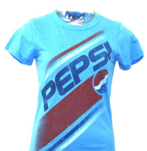 Pepsi Cola 1990s Logo Women's Blue Vintage T-Shirt by Junk Food Clothing