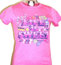Life is Sweet Women's Pink Vintage Candy T-shirt