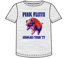 Pink Floyd Animals Concert Performance Tour 1977 Men's Gray T-shirt