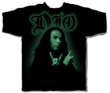 Ronnie James Dio Photograph with Metal Horns Pose Men's Black T-shirt