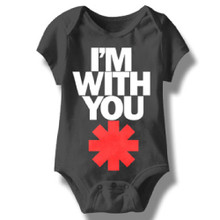 Red Hot Chili Peppers I'm With You Asterisk Logo Baby Onesie Infant Romper Suit in Black