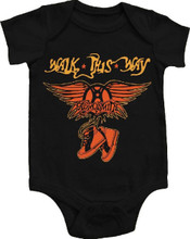 Aersomith Walk This Way Song Title and Band Logo Baby Onesie Infant Romper Suit in Black