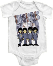 The Beatles Cartoon Rock n Roll Band Members Baby Onesie Infant Romper Suit in White