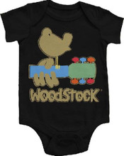 Woodstock 1960s Musical Concert Festival Logo Baby Onesie Infant Romper Suit in Black