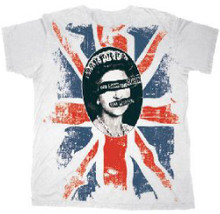 Sex Pistols God Save the Queen Single Album Cover Artwork With Union Jack British Flag Men's White Vintage T-shirt