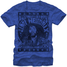 Jimi Hendrix 1968 Live USA Concert Performance Tour Men's Blue Vintage T-shirt