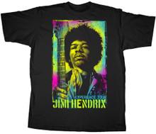 Jimi Hendrix Experience Tour Psychedelic Painted Jimi Hendrix Image Men's Black T-shirt