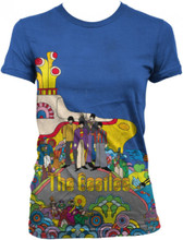 Beatles Yellow Submarine Movie Poster Artwork Women's Blue T-shirt