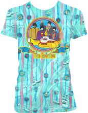 Beatles Yellow Submarine Women's Vintage Baby Blue T-shirt