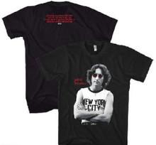 John Lennon Classic New York City T-shirt Photograph with Imagine Song Lyrics Men's Black T-shirt