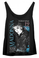 Madonna Who's That Girl 1987 World Tour Women's Black Vintage Tank Top T-shirt