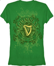 Guiness Beer Logo Women's Green Graphic T-shirt