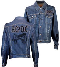 AC/DC Logo For Those About to Rock Cannon Album Cover Artwork Denim Blue Jean Jacket
