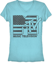 MTV American Flag Logo Women's Blue V-Neck T-shirt