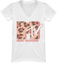 MTV 1980s Leopard Spots Logo Women's White V-Neck T-shirt