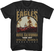 Eagles Hotel California 1977 Tour Capital Centre Washington, D.C. Show Men's Vintage Black Concert T-shirt