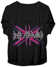 Def Leppard British Flag Logo Women's Black Dolman Shirt
