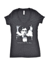 Keith Richards Photograph with Sympathy For the Devil Song Title Women's Gray Vintage V-Neck T-shirt by Corello