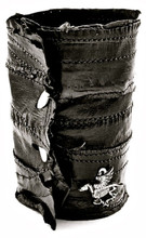 Corello Black Eel Leather Bracelet Cuff – closed
