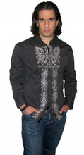 Roar Clothing Revere Black and White Pin Stripe With Eagle & Fleur De Lis Graphics Men's Long Sleeve Button Up Shirt - Front