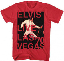 Elvis Presley Live Las Vegas 1970 Men's Red Concert T-shirt
