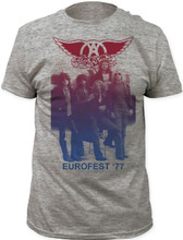 Aerosmith Eurofest '77 Men's Vintage Gray Concert Tour T-shirt