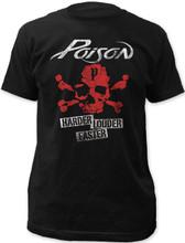 Poison Rock Band Harder Louder Faster Skull and Crossbones Logo Men's Black Vintage T-shirt
