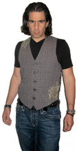 Roar Clothing Nordhaven Gray Plaid with Graphics Men's Vest - Front