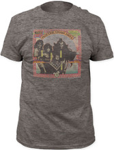 KISS Hotter Than Hell Album Cover Artwork Men's Gray Vintage T-shirt