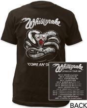 Whitesnake Come An' Get It Spring 1981 UK Tour Men's Black Vintage Concert T-shirt