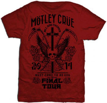 Motley Crue All Bad Things Must Come to an End Final Tour 2014 Men's Red Concert T-shirt