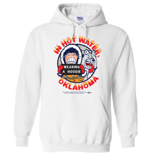 Fight the Fashion Fascism of Oklahoma's proposed Hoodie Ban with Bumperactive's parody Hoodie-Ban Hoodie! Full-color imprint using Artistri® Digital Textile Inks for a soft-hand feel and long-lasting washability. The garment is a WHITE, 9.oz ringspun cotton hooded sweatshirt by Gildan.