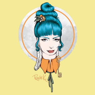 """Charmaine"" from the blue-haired girl series by Roshi K."