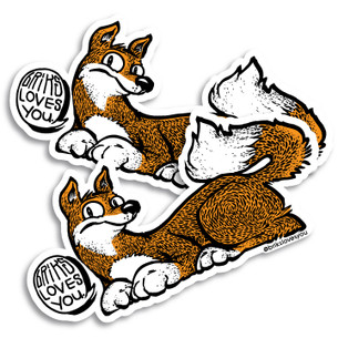 """""""Briks Love You"""" by Briks. Pack of two Stickers."""