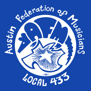 """American Federation of Musicians Union Local 433 Chapter"", on Royal Blue."