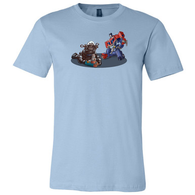 """Robbie and Optimus"" on Light Blue, Unisex Tee."