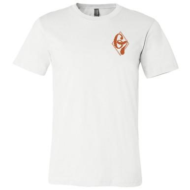 """67 Classic Logo"" in Texas Orange on White, Unisex Tee."