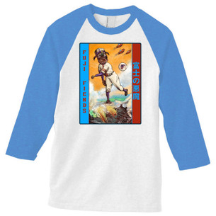"""Fuji Fiends"" on Baseball Tee with Light Blue Heather Raglan Sleeves."