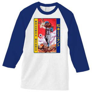 """Matsumoto Mutants"" on Baseball Tee with Navy Raglan Sleeves."
