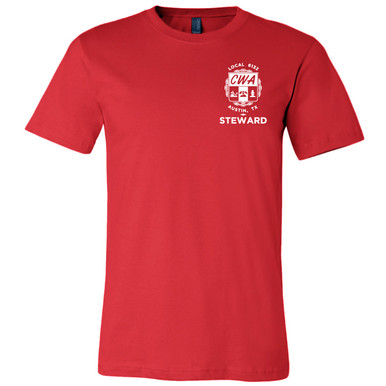 "CWA Local 6132 Logo with ""Steward"" (front only) on Red, Unisex Tee."