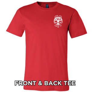 CWA Local 6132 Logo on front of Red, Unisex Tee.