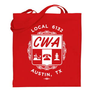 """CWA Local 6132 Logo"" on Red Tote Bag."