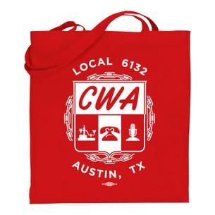 """CWA Local 6132 Logo"" on Red Tote Bag."