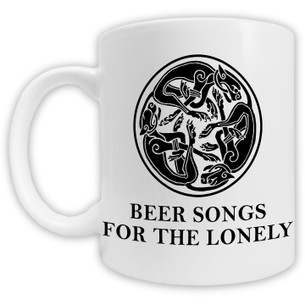 """""""Beer Songs for the Lonely"""" Celtic Graphic on White Mug"""