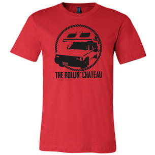 """Rollin' Chateau"" Graphic on Red Tee"